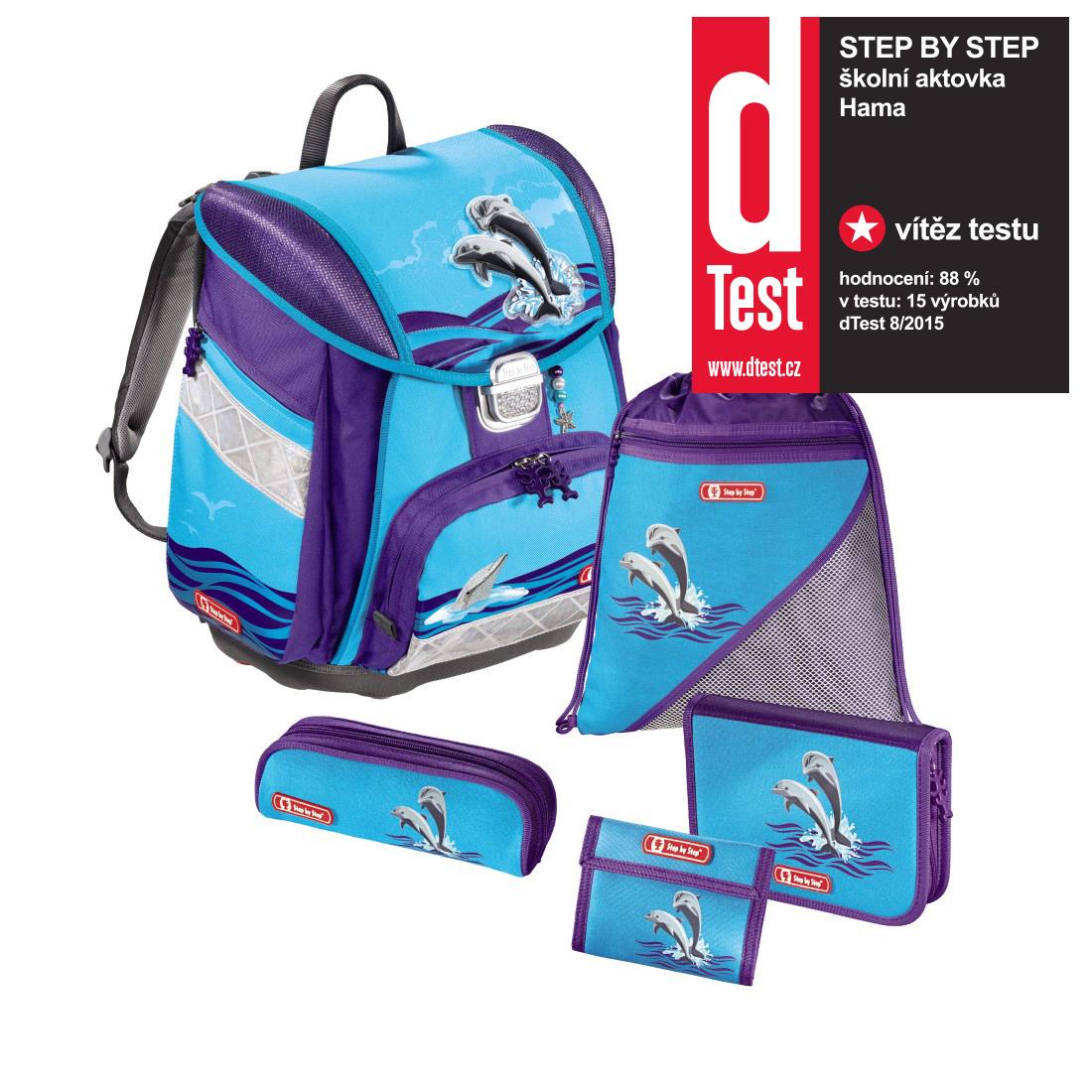 5ddae65fa7 Školská taška Step By Step Delfíny 6-dielny set certifikát AGR